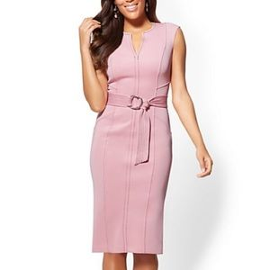 New York and Company Topstitched Pink Sheath Dress